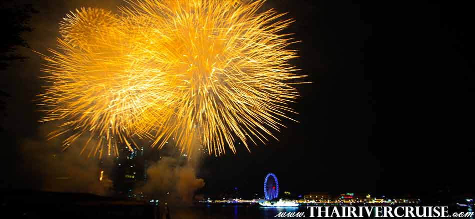 Sparks in the Bangkok New Year's Eve Firework Display over the Chaophraya river Bangkok Thailand
