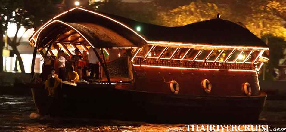 Loy Nava Boat New Year EVE dinner Cruise 5-star rice barge  luxury rice barge Bangkok New Year's Eve Bangkok Dinner Cruise On Traditional Rice Barge Cruises Thailand