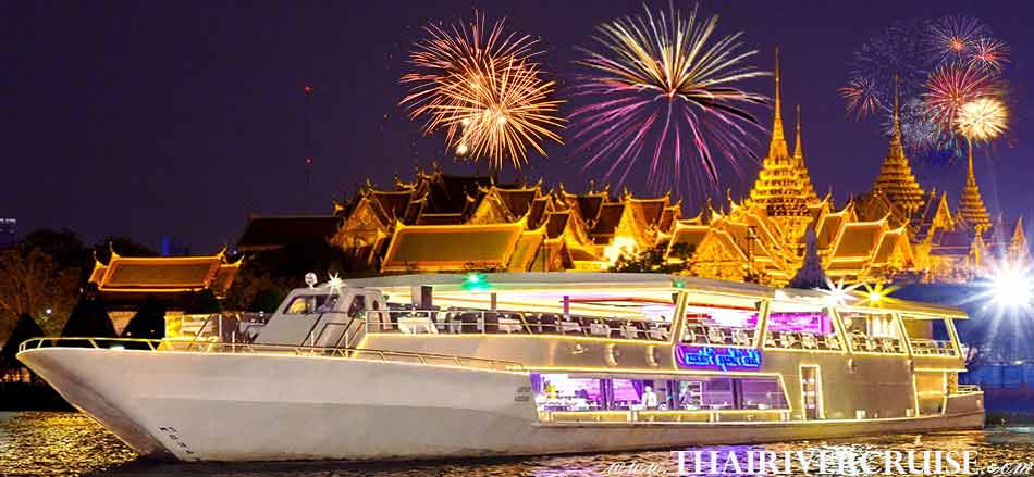 New Year's Eve Bangkok Countdown River Cruise Dinner Bangkok Thailand, Chaophraya Princess Cruise Countdown River Cruise on the Chao phraya Rvier  Bangkok Thailand