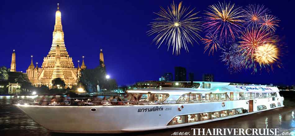 New Year's Eve Bangkok Countdown River Cruise Dinner Bangkok Thailand, Grand Pearl Cruise Luxury 5-star Countdown River Cruise on the Chao phraya Rvier  Bangkok Thailand