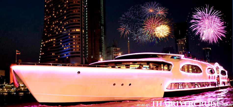 New Year's Eve Bangkok Dinner Cruise On 5 Star Large luxury chaophraya river Cruises Thailand, Wonderful Pearl Cruise New Year Dinner Cruise