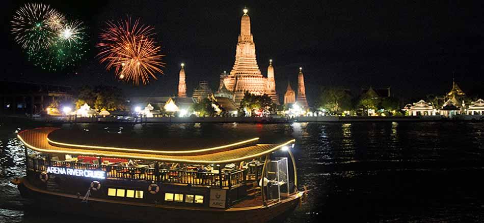 ARENA RIVER CRUISE ARCINDIAN RIVER CRUISE luxury rice barge Bangkok New Year's Eve BangkokDinner Cruise On Traditional Rice Barge Cruises Thailand