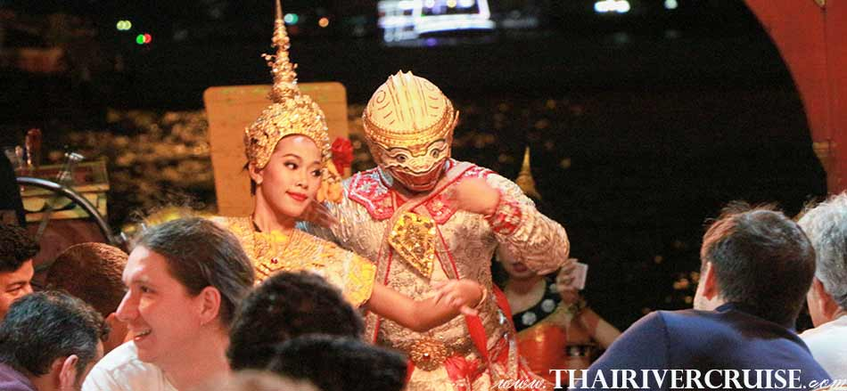 Entertainment on board private rice barge party dinner cruise by Thai classical dancing and Khon masked dance
