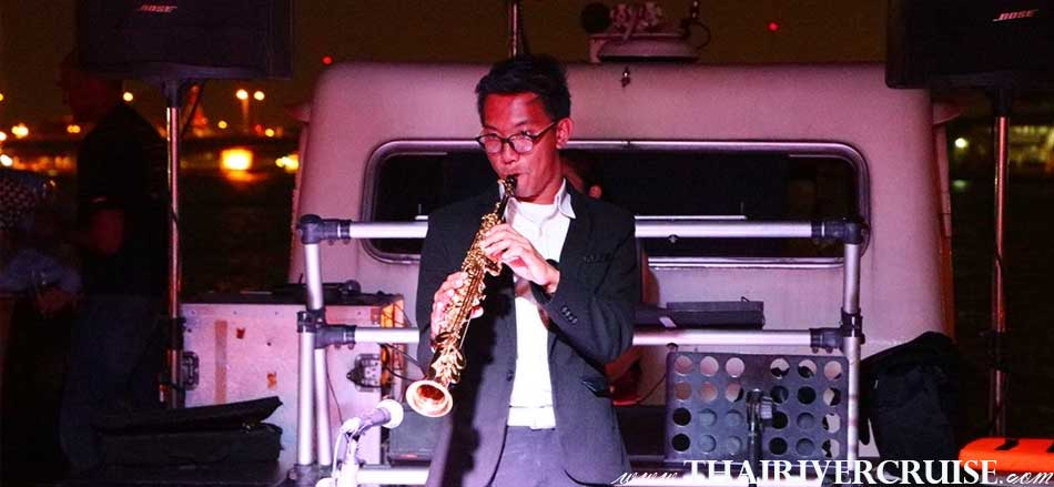 Entertainment on board private party dinner cruise by saxophone & live music