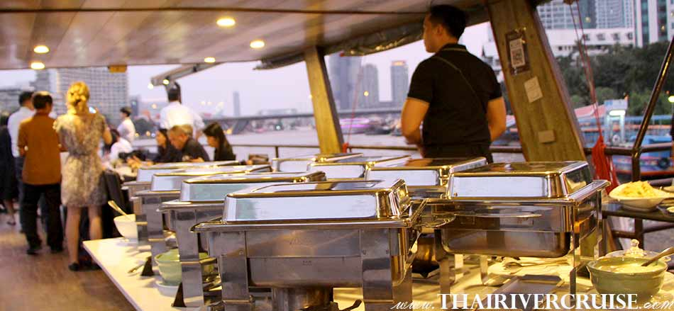 Private Boat Party Bangkok Dinner Cruise on the Chao Phraya River, Bangkok,Thailand. Good view on upper deck of cruise