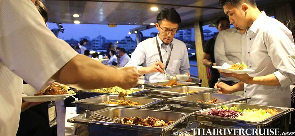 Enjoy Delicious buffet dinner on board, Private Boat Party Bangkok Dinner Cruise on the Chao Phraya River, Bangkok,Thailand