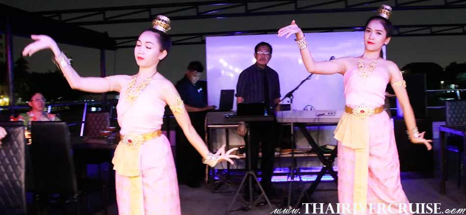 Entertainment by traditional show by Thai classical dancing on board, private dinning cruise Bangkok,Thailand