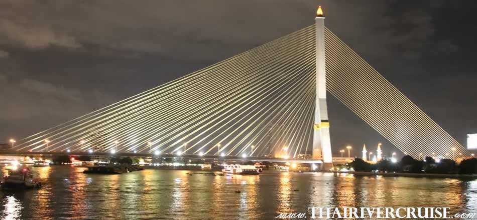 Rama 8 Bridge Bangkok,The Beautiful Night Scenery Along the Chaophraya River Bangkok Thailand