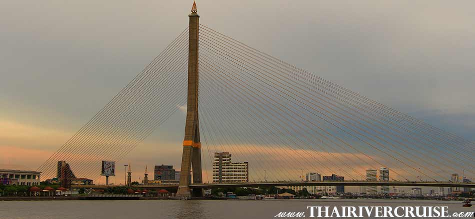 Rama 8 Bridge Bangkok, Bangkok Sunset View of Chao Phraya river,Thailand