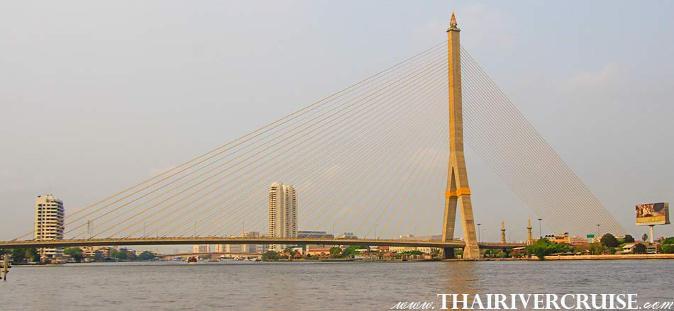 Rama 8 Bridge - Rama VIII Bridge, Bangkok. ( สะพานพระราม 8 ) The beautiful scenery and attraction along the Chaophraya river Bangkok Thailand