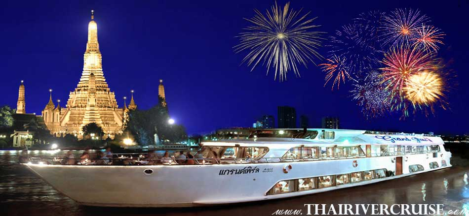River Cruise Bangkok New Year's Eve Dinner Grand Pearl Cruise Luxury 5 Star Dinner Cruise on Countdown Night Bangkok