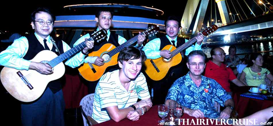 Entertainment onboard Grand Pearl Cruise by Thai classical dancing and live music pop jazz music style. , River Cruise Bangkok New Year's Eve Dinner Grand Pearl Cruise