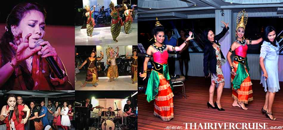 Entertainment on board River Star Princess Cruise Bangkok Thailand by Thai classical dancing and live band music