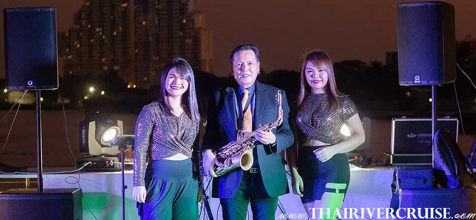 Mr SAXOPHONE and professional singer on board  Royal Princess Cruise New Luxury Large Elegance Bangkok Dinner Cruise on the Chao Phraya River,Thailand