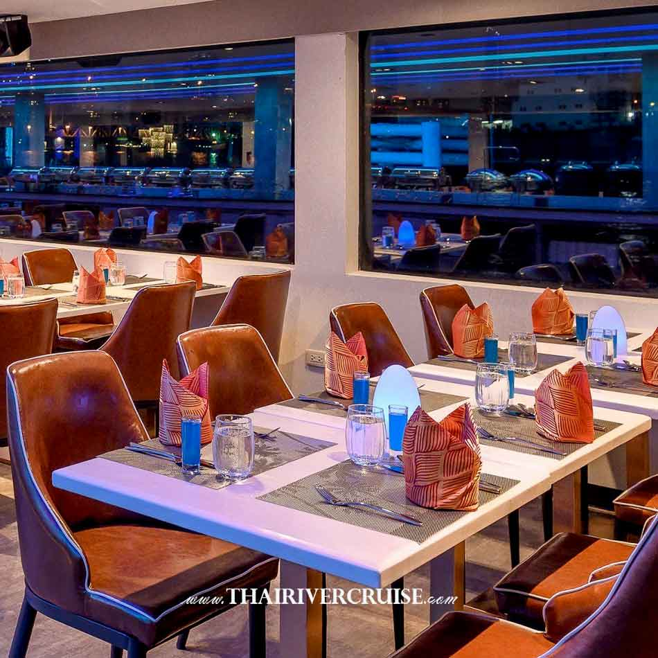 Air-conditioned floor of Royal Princess Cruise New Luxury Large Elegance Bangkok Dinner Cruise on the Chao Phraya River,Thailand