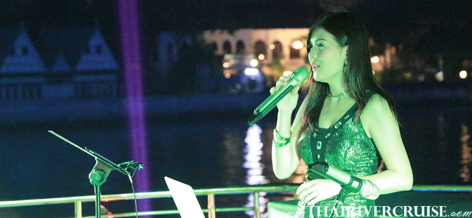 Beautiful professional singer on-board Royal Princess Cruise New Luxury Large Elegance Bangkok Dinner Cruise on the Chao Phraya River,Thailand