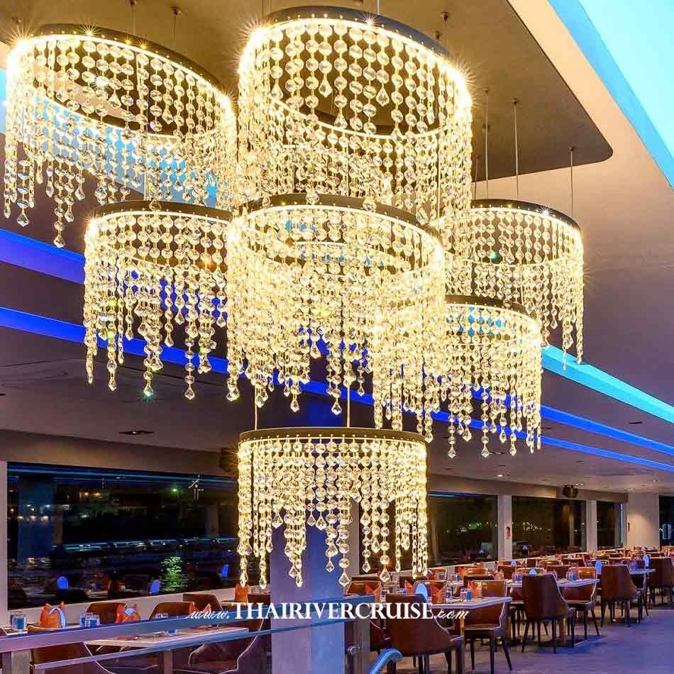 Decoration lighting inside of Royal Princess Cruise New Luxury Large Elegance Bangkok Dinner Cruise on the Chao Phraya River,Thailand