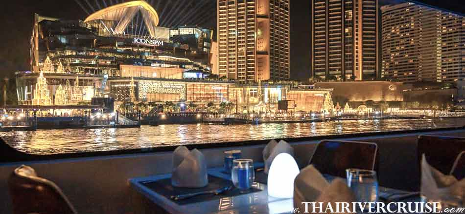 Beautiful river view of IconSiam from Royal Princess Cruise New Luxury Large Elegance Bangkok Dinner Cruise on the Chao Phraya River,Thailand
