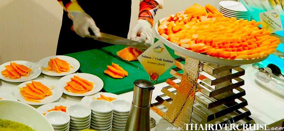 Salmon Crab Sashimi Buffet line of Royal Princess Cruise New Luxury Large Elegance Bangkok Dinner Cruise on the Chao Phraya River,Thailand