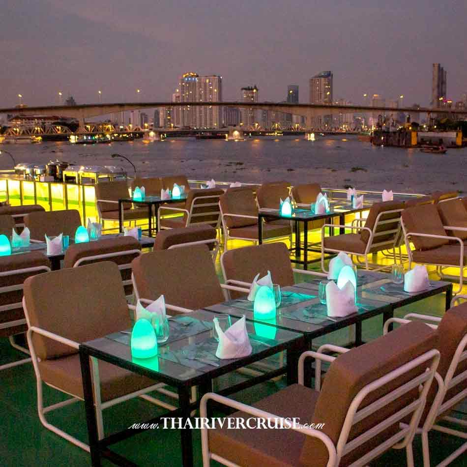 Upper deck Top Seat of Royal Princess Cruise New Luxury Large Elegance Bangkok Dinner Cruise on the Chao Phraya River,Thailand