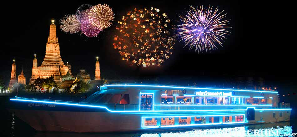 New Year's Eve Bangkok Countdown Royal Princess Cruise Dinner Bangkok Thailand, Chaophraya Princess Cruise Countdown River Cruise on the Chao phraya Rvier  Bangkok Thailand