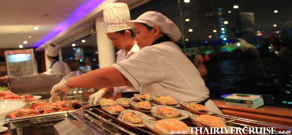 Grilled Shellfish Buffet Menu, Seafood Dinner Cruise Bangkok Floating Restaurant River Thailand