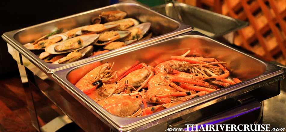 Grilled Shrimp,Grilled Shellfish, Served on Seafood Dinner Cruise Bangkok Floating Restaurant River Thailand