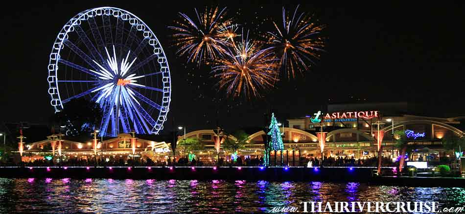 Asiatique The Riverfront is the famous and popular waterfront open-air night market in Bangkok Thailand.