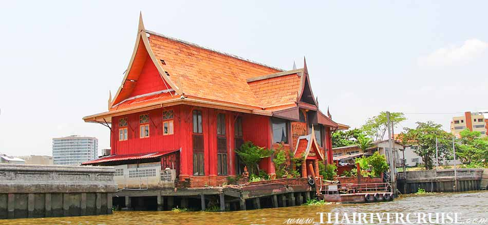 Traditional Thai house in Bangkok Noi Canal,Sunset Boat Tour Bangkok Private Chao Phraya River Bus Boat Tour