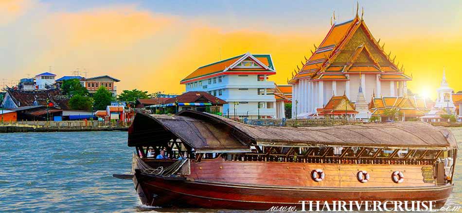 Sunset Cruise Bangkokby Luxury traditional rice barge 5-star river cruise Loy Nava Cruise
