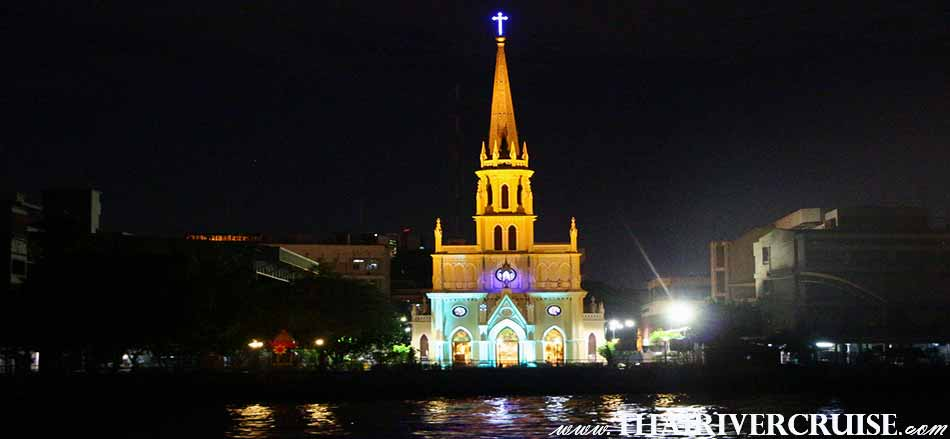 The Holy Rosary Church Bangkok,The Beautiful Night Scenery Along the Chaophraya River Bangkok Thailand