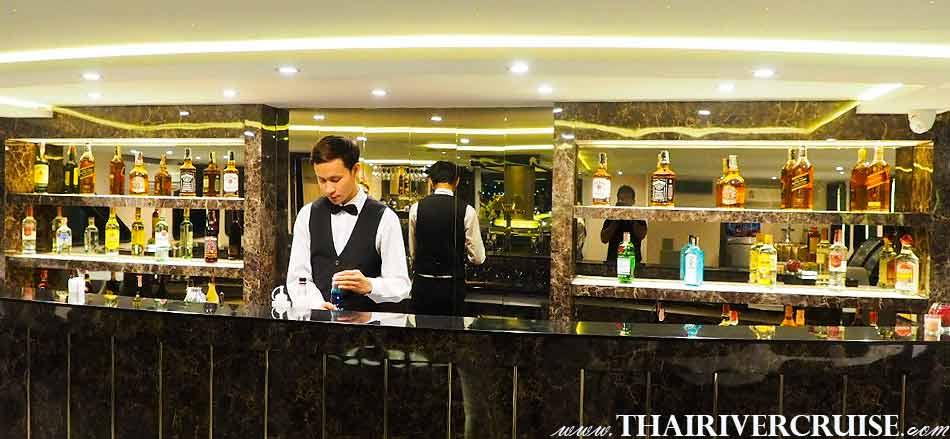 Luxury diner cruise on the Chaophraya river Bangok, Thailand.The Bangkok River Cruise