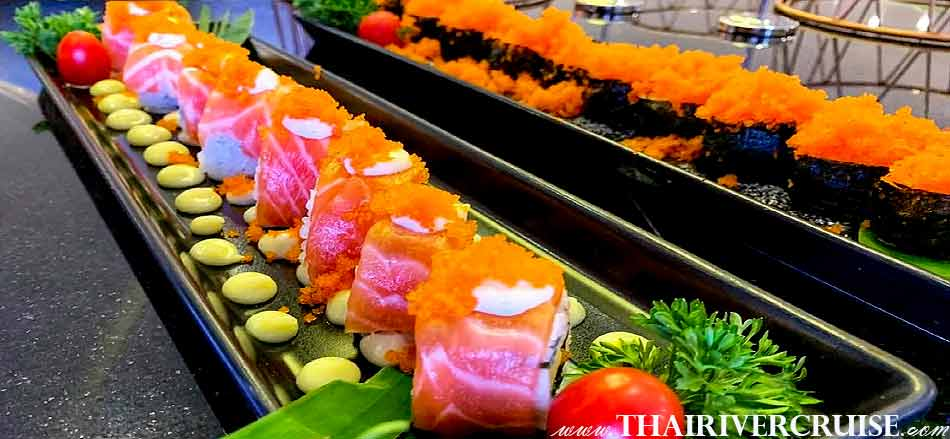 Japanese food available on board The Bangkok River Cruise