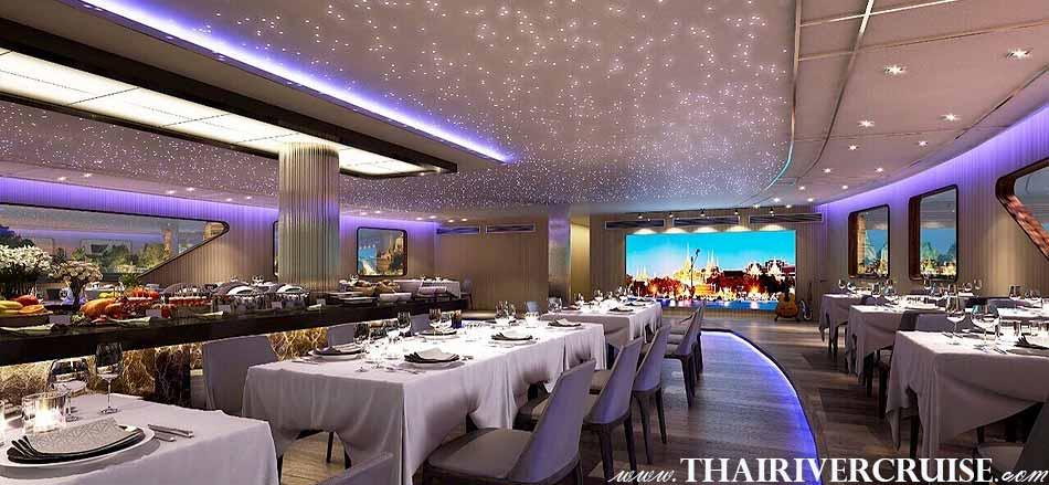 Luxury large elegance modern cruise on The Chaophraya river, The Bangkok River Cruise