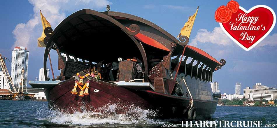 Happy Moment Valentine Day on Manohra cruise Rice Barge Dinner Bangkok Thailand