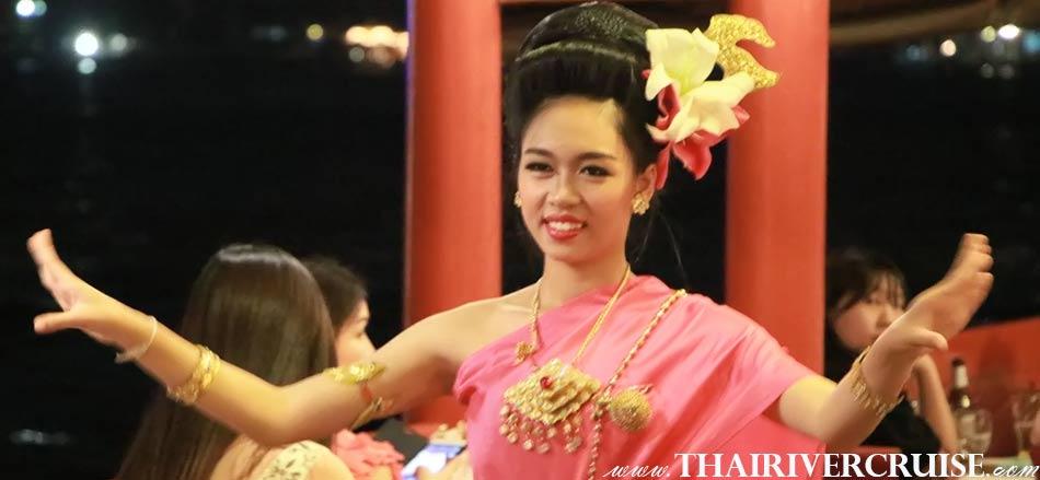 Loy Krathong Bangkok Best Place Wanfah Dinner Cruise, Entertainment on board Wanfah CruiseBangkok Thailand by Thai classical dancing