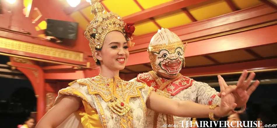 Entertainment on board Wanfah CruiseBangkok Thailand by Mask Dance or Khon, Loy Krathong Bangkok Best Place Wanfah Dinner Cruise