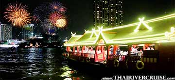Wan Kaew Cruise Rice Barge Boat Cocktail New Year Dinner Cruise Bangkok Thailand