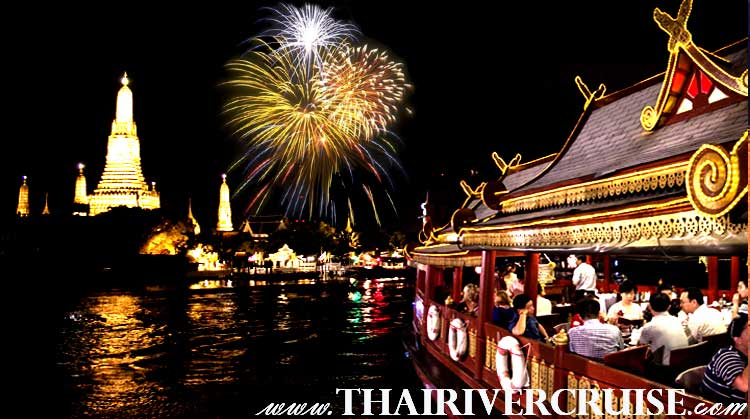 Thai Traditional Boat New Year EVE Dinner Cruise by Rice Barge Wanfah Cruise