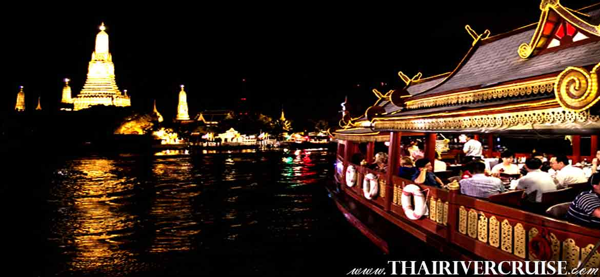 Wanfah Cruise Luxury Rice Barge Dinner Cruise Bangkok Chaophraya River Thailand