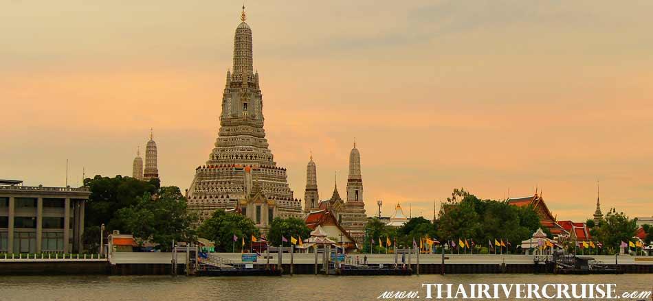Temple of Dawn or Wat Arun , Bangkok Sunset View of Chao Phraya river,Thailand