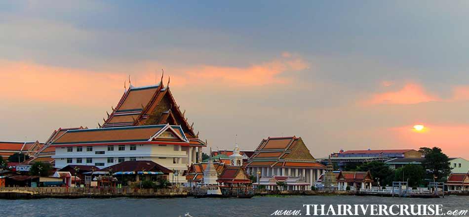 Wat Kalayamit, Bangkok Sunset View of Chao Phraya river,Thailand