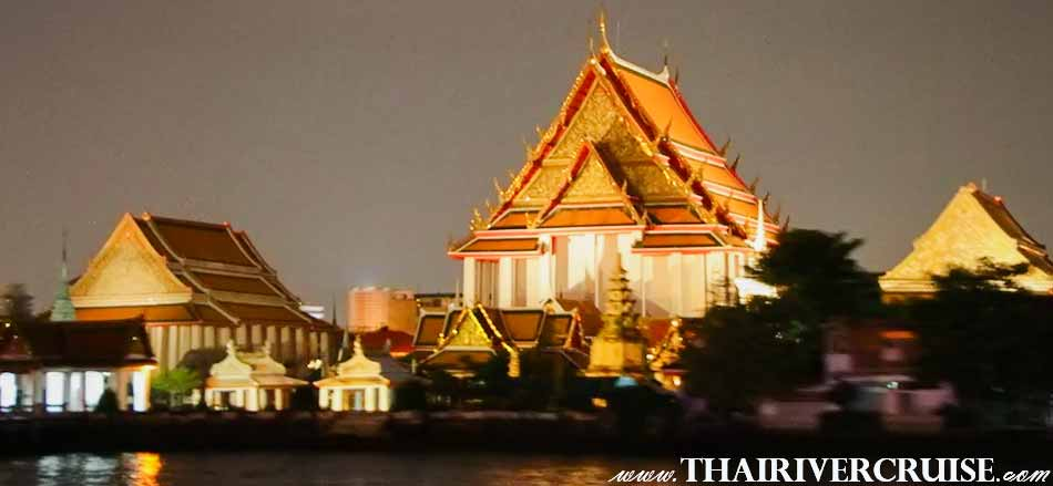 Wat Kalayamit,The Beautiful Night Scenery Along the Chaophraya River Bangkok Thailand