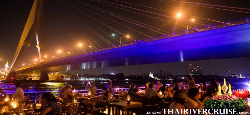 Loy Krathong Bangkok on White Orchid River Dinner Cruise Thailand. Enjoy to watch fire work over sky of the river