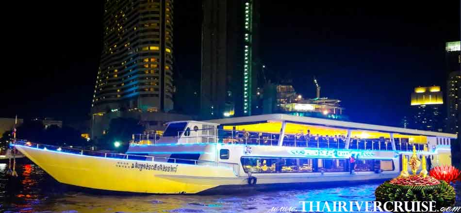 Loy Krathong Bangkok on White Orchid River Dinner Cruise Thailand Full Moon Party on Loy Krathong Night