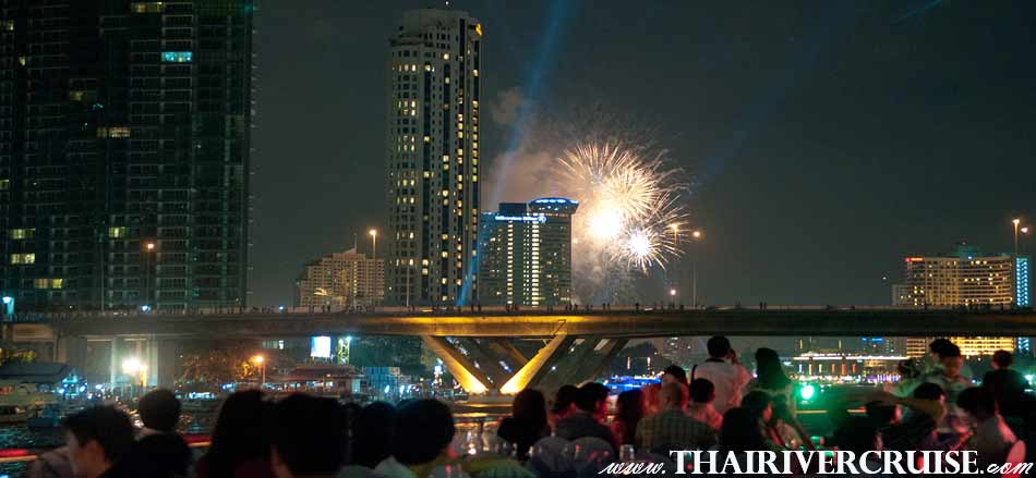 White Orchid River Cruiseluxury buffet on new year eve with dinner river cruise alongChaophraya river Bangkok Thailand