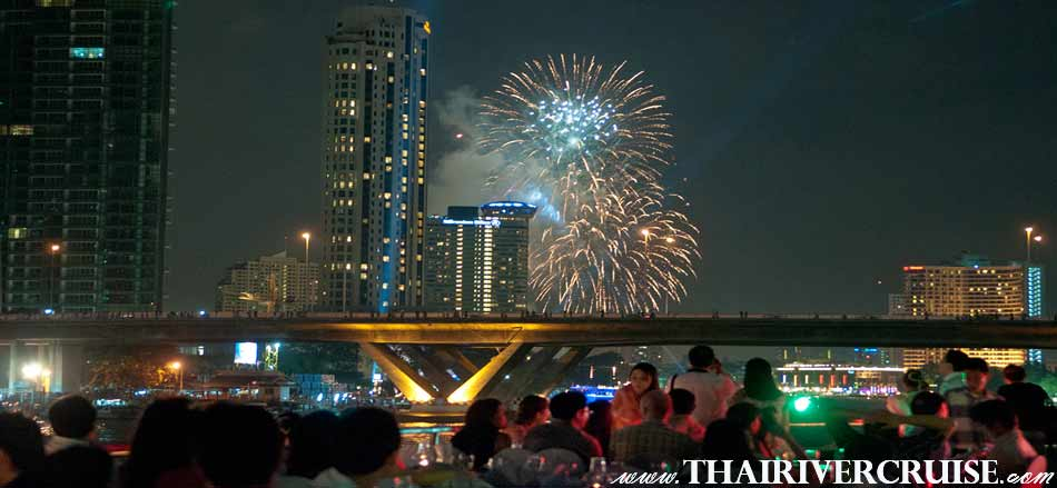 Welcome aboard Bangkok Countdown White Orchid River Cruise, luxury buffet dinner cruise on New Year EVE Chaophraya river Bangkok Thailand