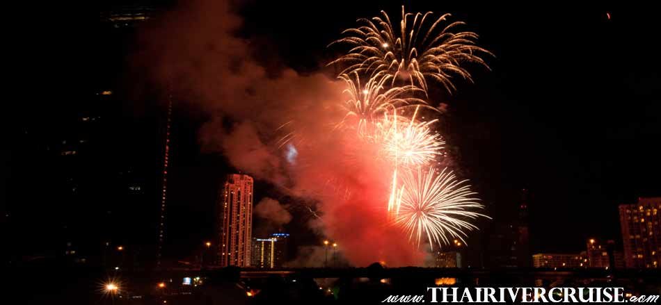 Sparkling firework on Top Deck Rooftop  of White Orchid River Cruise Bangkok Countdown 2019 Dinner Cruise Thailand