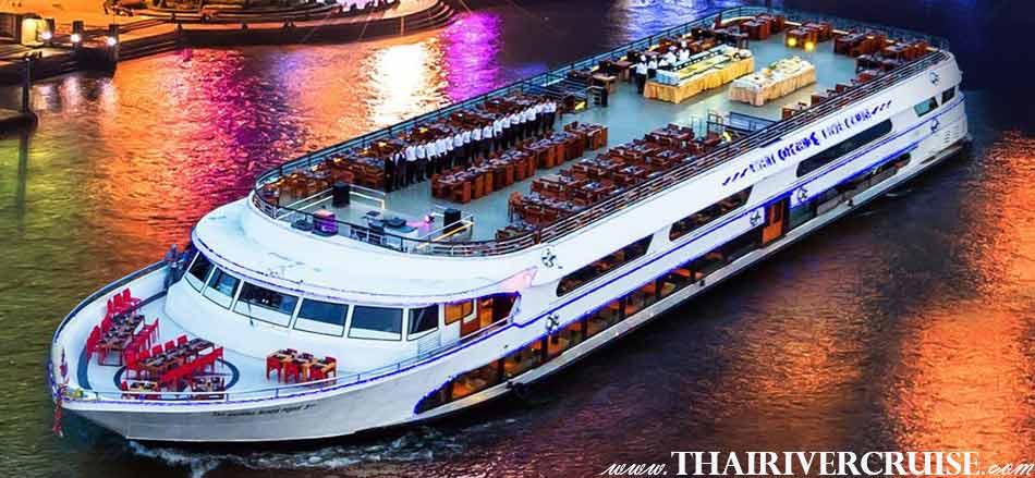 ไวท์ ออร์คิด ริเวอร์ ครูซส์เรือสำราญขนาดใหญ่ ดินเนอร์ ล่องเรือ เจ้าพระยารับประทานอาหารค่ำ แบบบุฟเฟ่ท์ บน ไวท์ ออร์คิด ริเวอร์ ครูซส์ เรือสำราญ แม่น้ำเจ้าพระยา แม่น้ำเจ้าพระยา ขนาดใหญ่ สามารถรองรับ นักท่องเที่ยว ได้มากถึงจำนวน 500 ท่าน.