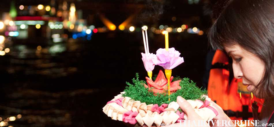 Loy Krathong Bangkok on White Orchid River Dinner Cruise Thailand